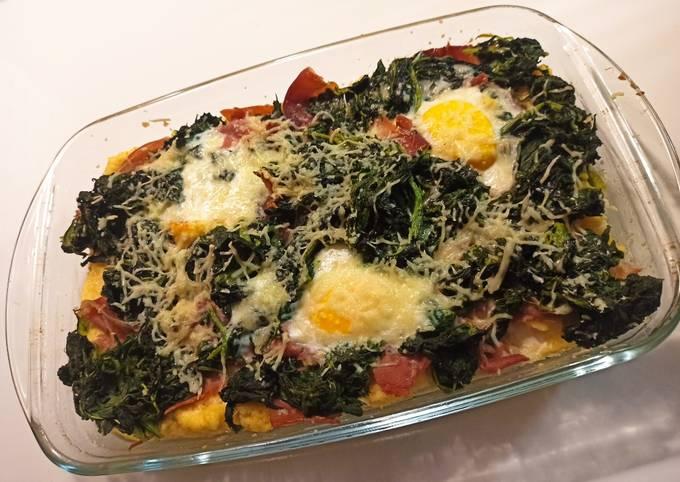 Gratin de polenta épinard jambon cru