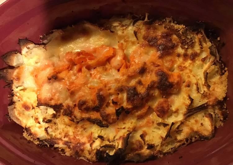 Gratin de panais et carottes au parmesan