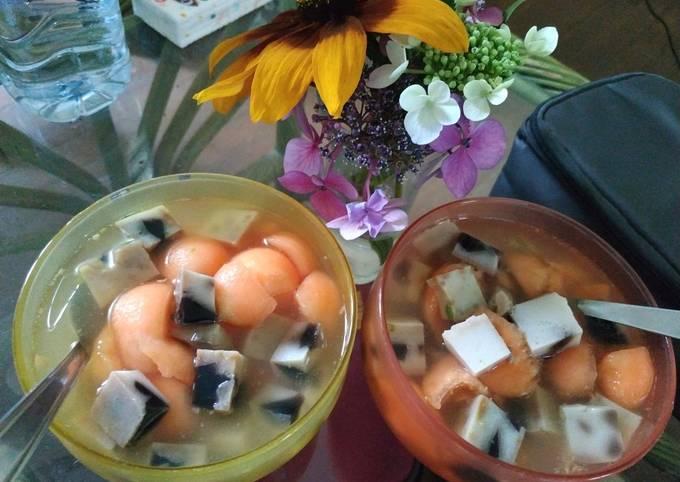Melon Cincau Pudding Sirup