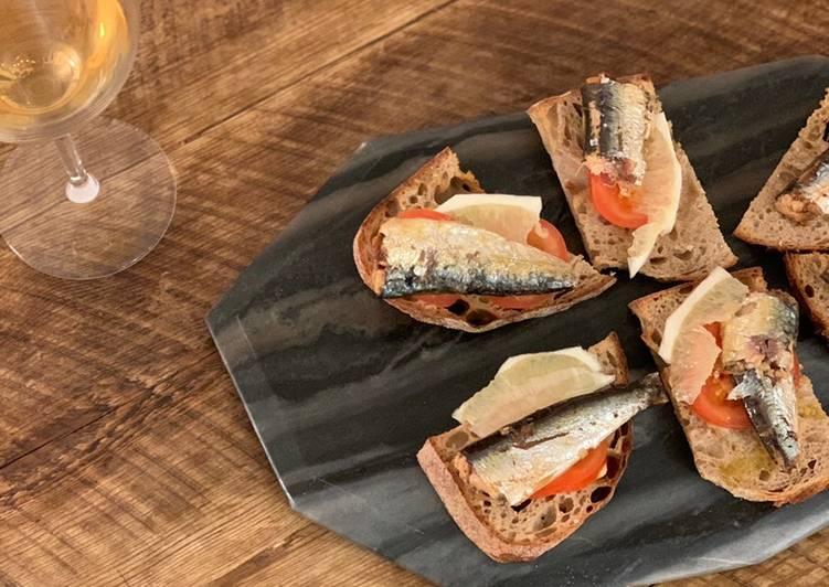 Simple Way to Prepare Award-winning Sardine, butter, lemon, tomato & pepper on toast