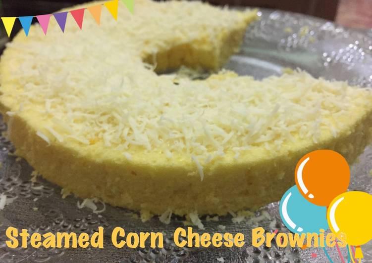 cara membuat Steamed Corn Cheese Brownies/Bolu Jagung Keju Kukus - Sajian Dapur Bunda