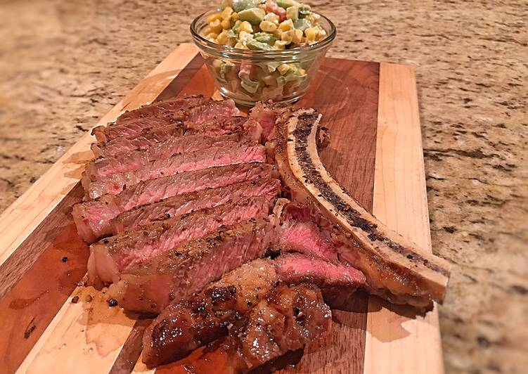 Reverse seared ribeye with blue cheese corn salad