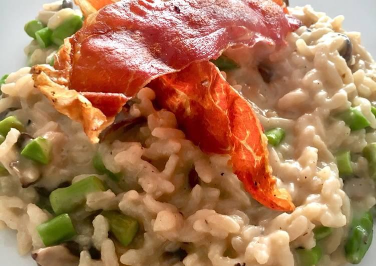 Risotto ai funghi con asparagi (risotto dengan jamur dan asparagus) resep ibu mertua