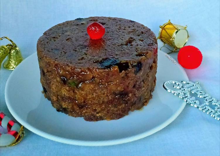 15 Minute Recipe of Vegan Eggless fruity whole wheat plum pudding