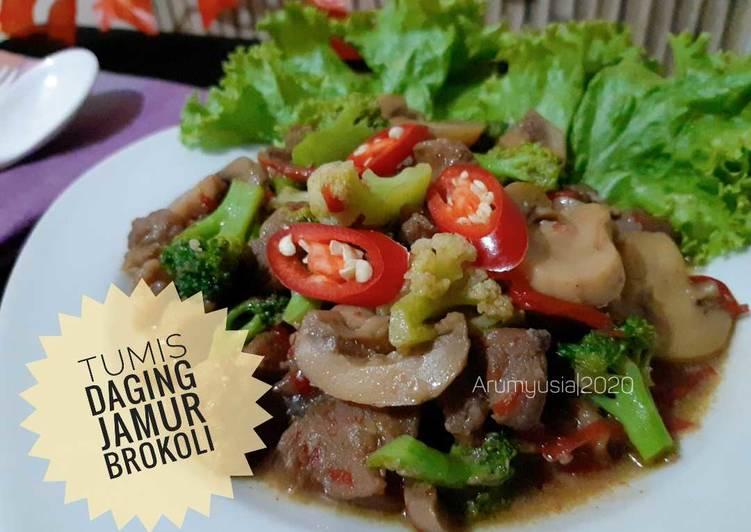 Tumis Daging Jamur Brokoli