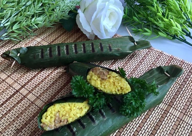 Nasi Kuning Bakar isi Oncom