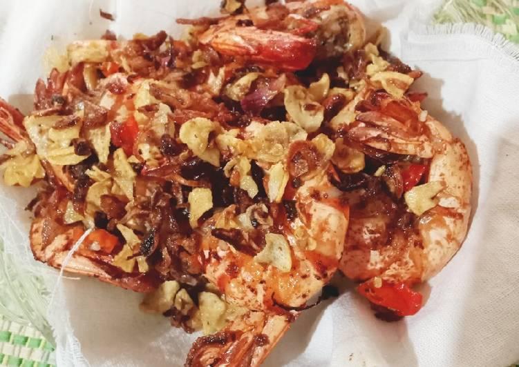 Udang bawang sambal embe