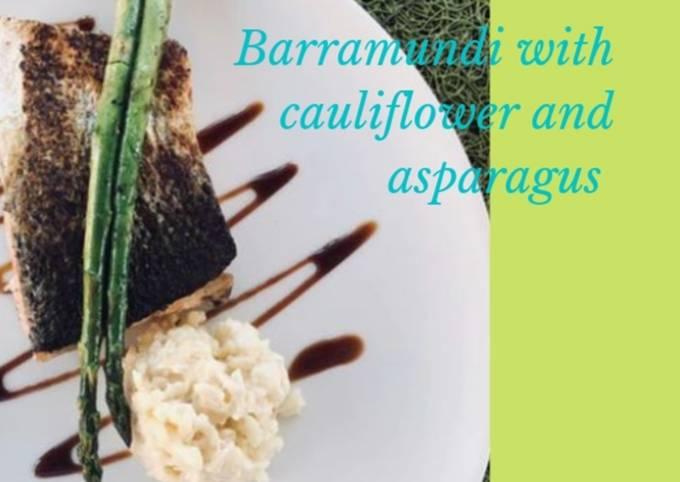 Barramundi with cauliflower rice and asparagus