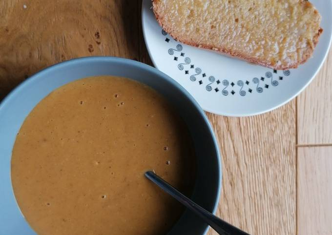 Curried red lentil and potato soup