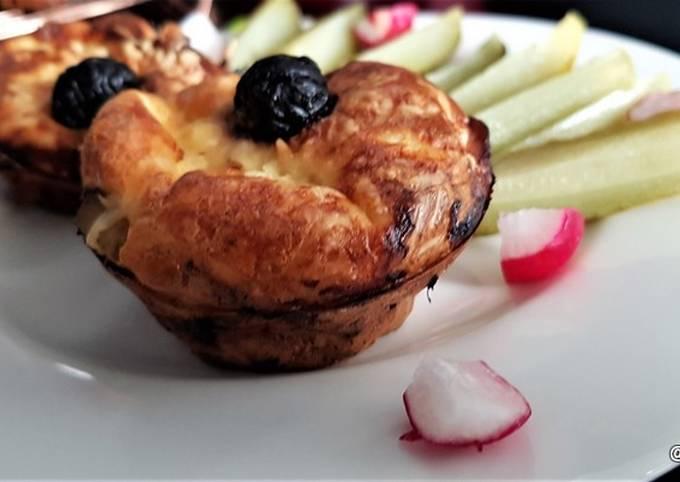 Mini quiches sans pâte aux champignons, poireau, lardons.