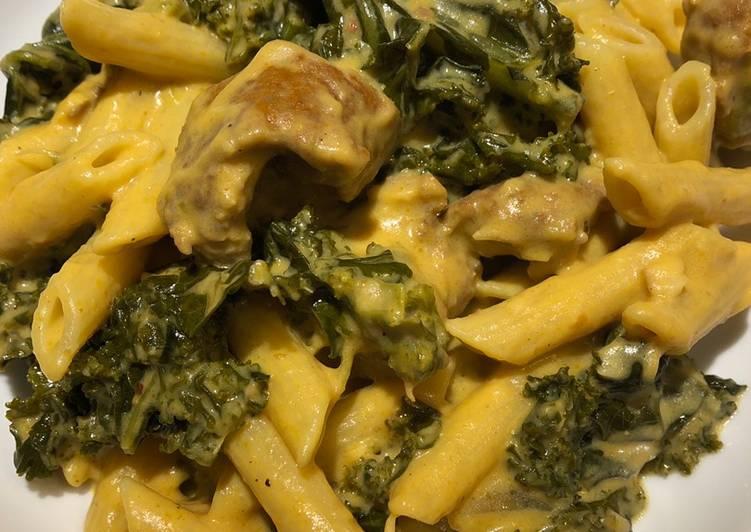 Recipe of Award-winning Creamy Pumpkin 🎃, Sausage and Kale 🥬 Pasta 🍝