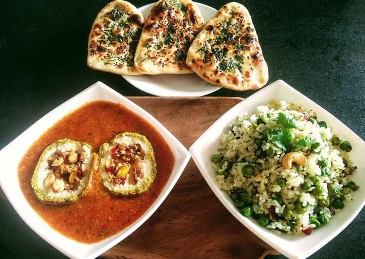 How to Make Homemade Matar Paneer Koftas, tawa coriander naan with methi matar pulao