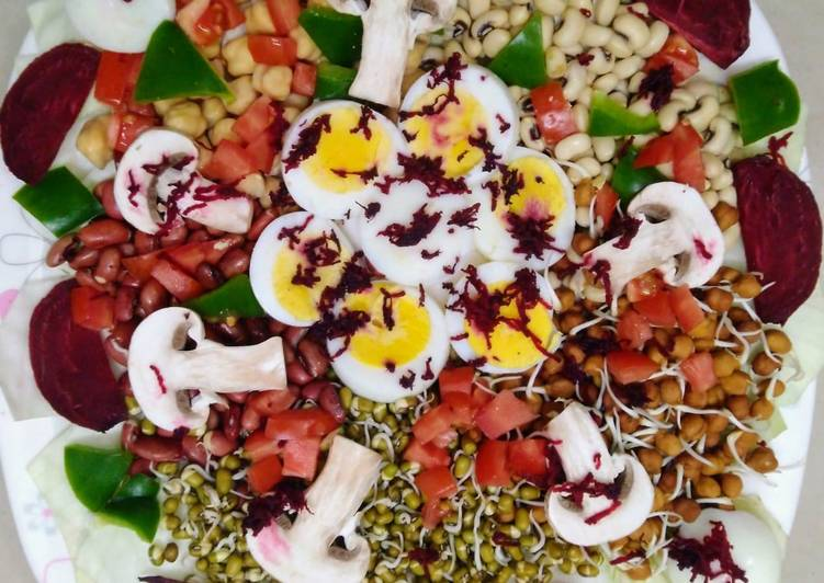 Grandmother's Dinner Ideas Any Night Of The Week Protein Rich Sprouted Salad with TWIST of Eggs