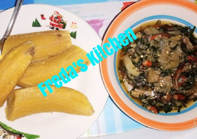 Garden egg sauce with unripe plantain