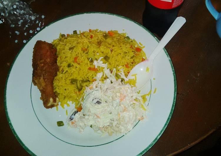 Fried rice, Cole slaw, fried chicken drum stick