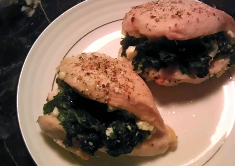 Chicken stuffed with spinach and goat cheese