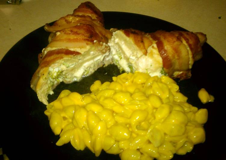 Broccli stuffed bacon wrapped chicken