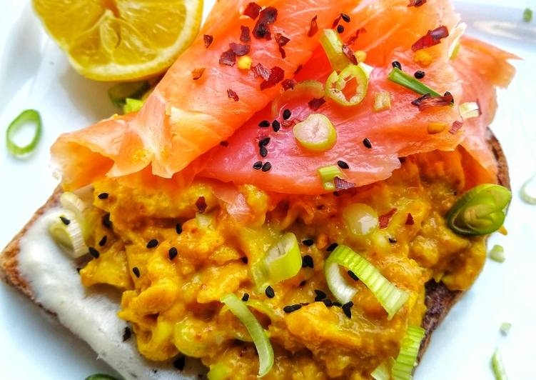 Tumeric Scrambled Eggs & Smoked Salmon On Toast