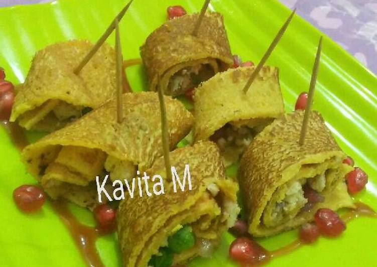 Cottage cheese stuffed besan cheela - Laurie G Edwards