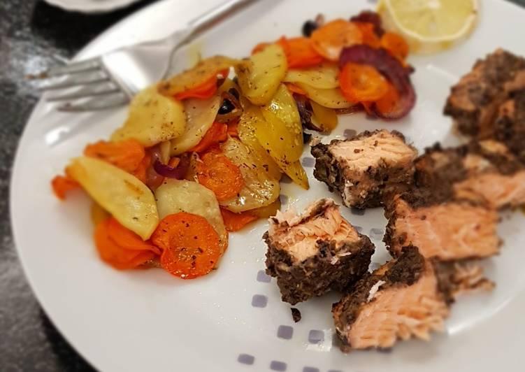 °Saumon en croûte de tapenade et légumes rôtis°