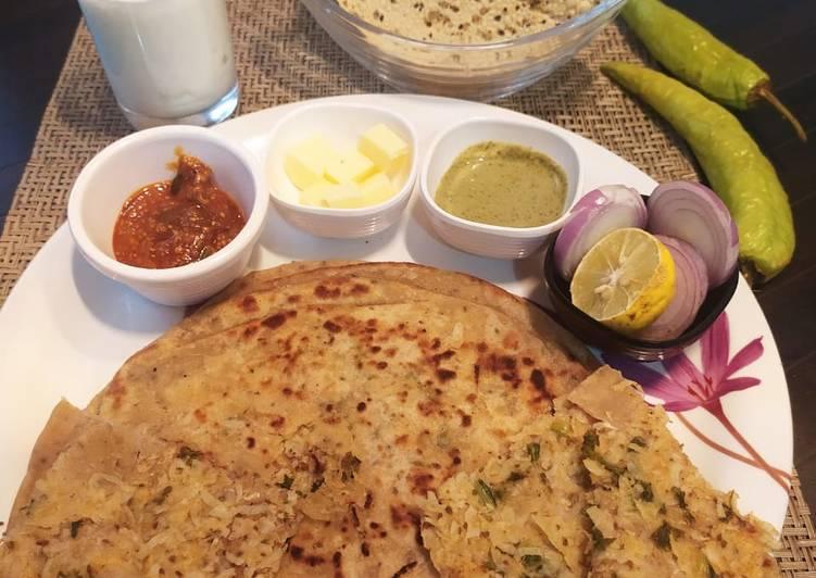 Punjabi paratha thali(radish layered paratha, Yoghurt lassi) - Laurie G Edwards