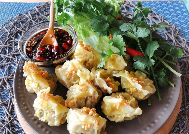 15 Minute Recipe of Spring Easy Dumpling |Shrimp & Pork Dumpling with Spicy Dipping Sauce •Kanom Jeeb •
