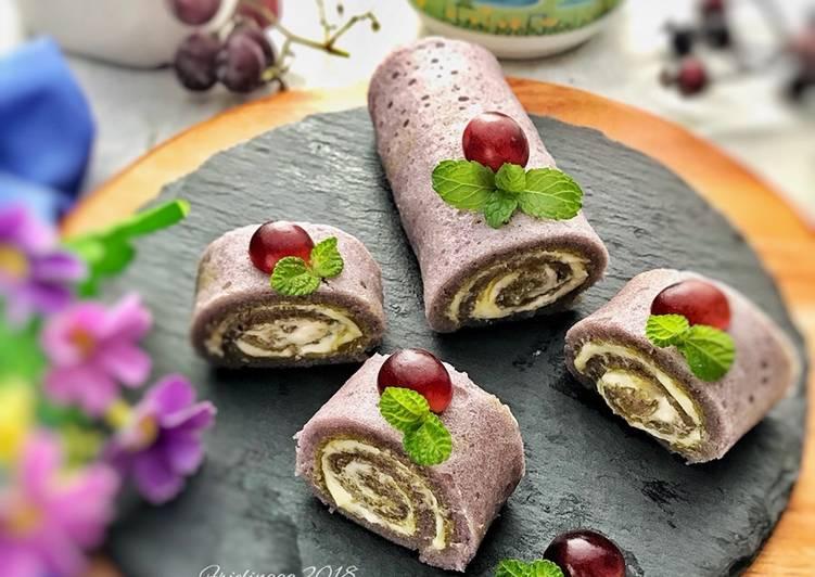 Taro Steamed roll cake, 1 telur, irit bahan