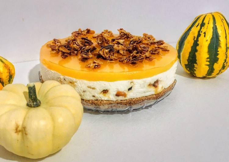 Profumo d'autunno - Cheesecake senza lattosio con gelèe al mandarino e mandorle caramellate