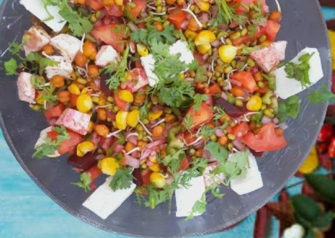 Healthy Paneer salad with sprouts