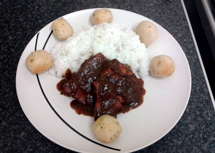 BBQ smoky pork with salted rice (serve with garlic & herb doe balls optional)