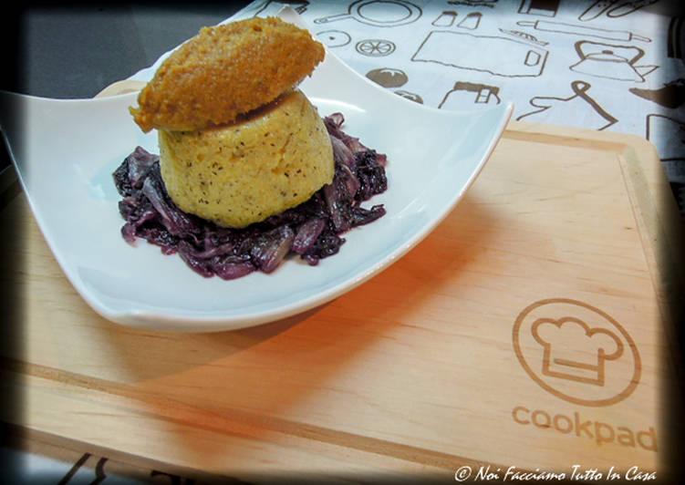 Tortino di polenta con Mousse di Missoltino e Radicchio brasato – Rivisitazione in chiave moderna –