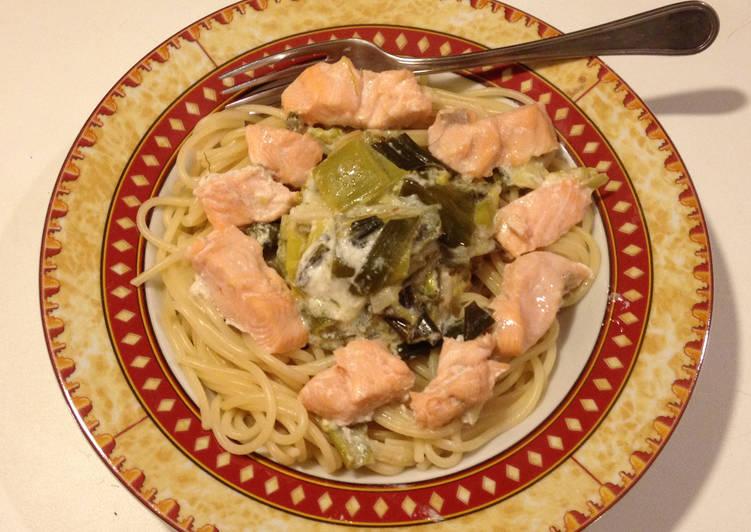 Comment Faire Des Spaghetti à la fondue de poireaux et truite fraîche