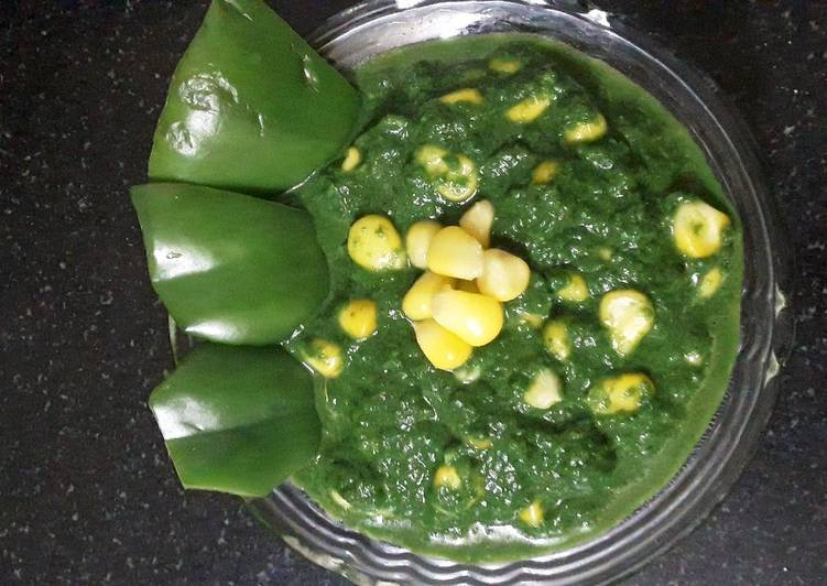 5 Minute Steps to Prepare Award Winning Palak corn sabzi