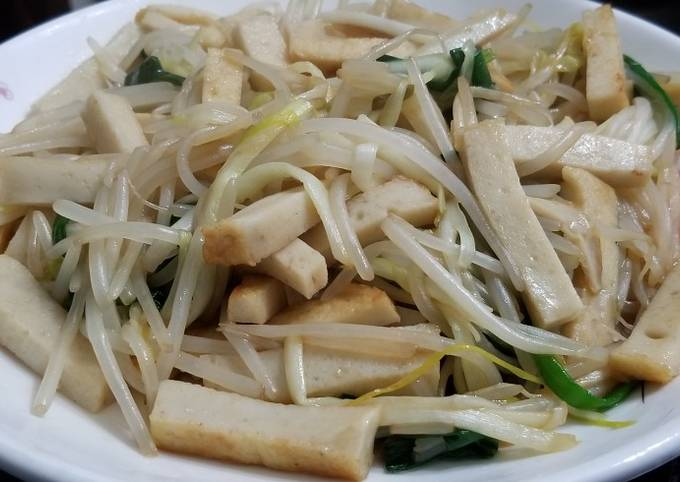 Chinese Stir Fry Bean spouts Hotbed Chives with fish cake 魚片炒銀芽