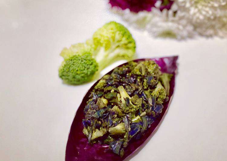 Broccoli and Red cabbage Bhaji. #NewYearNewYou