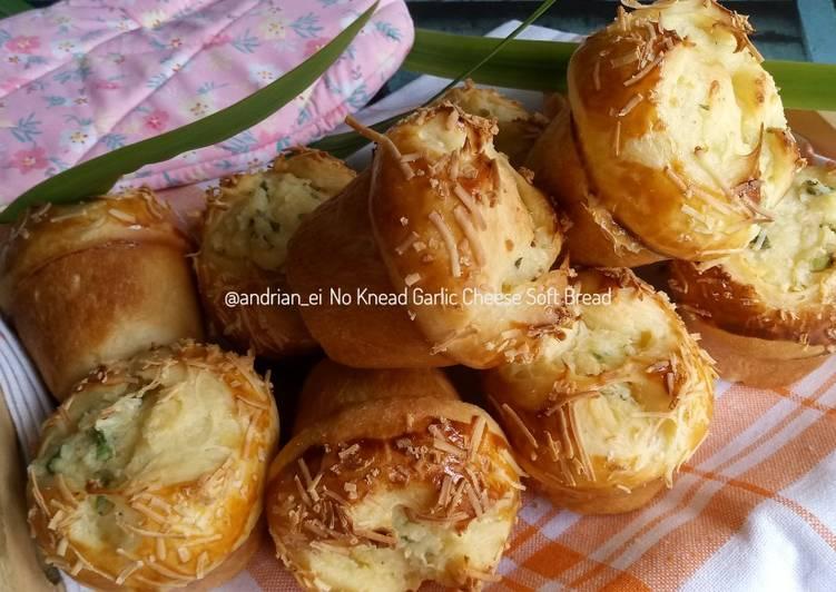 No Knead Garlic Cheese Soft Bread (Tanpa Ulen)