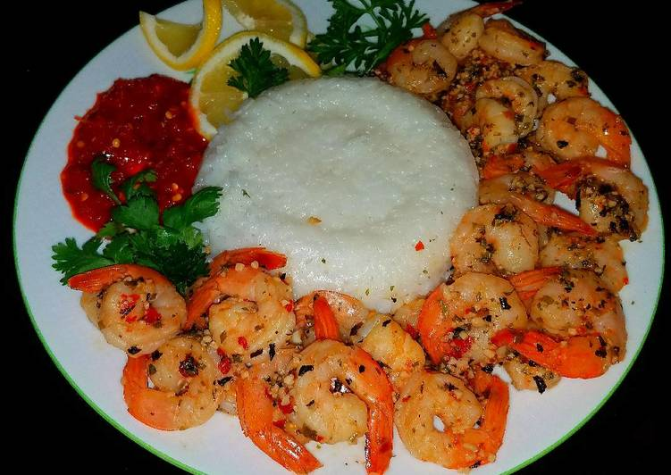 Recipe: Appetizing Mike's Spicy Garlic Shrimp & Jasmine Rice