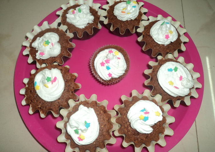 Chocolate Velvet Cupcake with whipping cream frosting