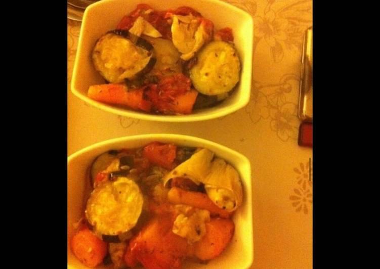 Comment faire Cuire Délicieuse Cassolettes de légumes (courgettes tomates carottes poireaux) au jambon cru