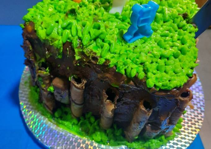 Grass-Themed Chocolate Birthday Cake 🎂 (Long Recipe)