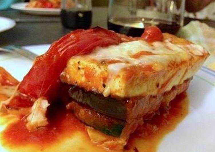 Recipe: Yummy Towering Tofu Lasagna with Eggplant and Zucchini