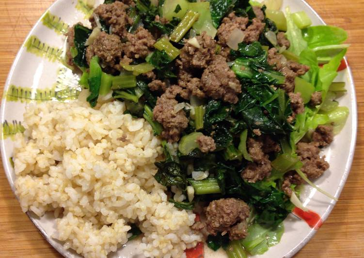 Ground Bison And Asian Greens Stir Fry Recipe By Felice Cookpad