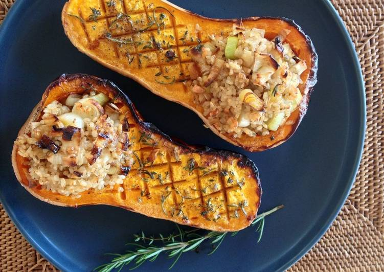 Steps to Prepare Any-night-of-the-week Stuffed Roasted Butternut Squash with Brown Rice
