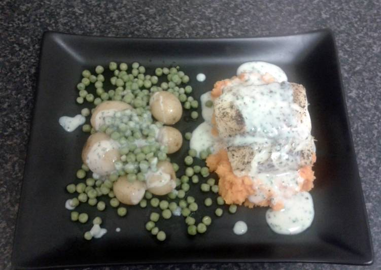 Going Green for Better Health By Consuming Superfoods Lemon Grass Cod Loin with Sweet potato, Pearl potato & Petite pois