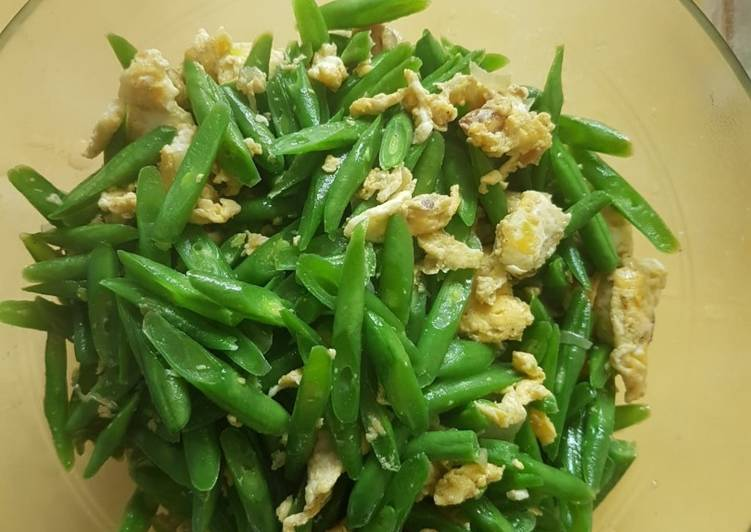 recette Haricots vert aux oeufs le délicieux