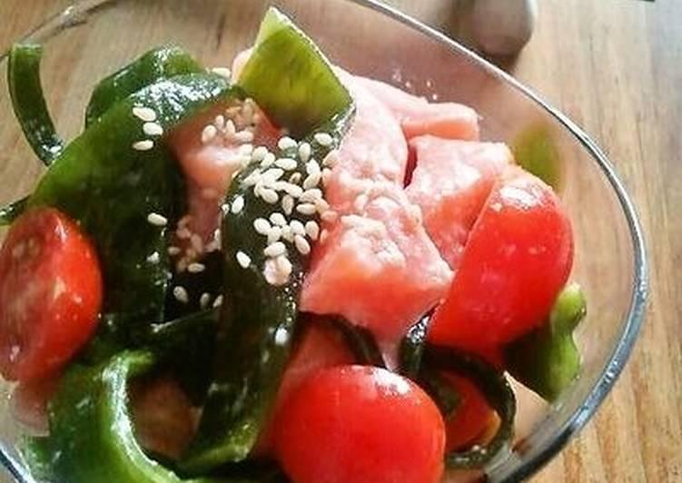 Salmon and Wakame Stem Salad