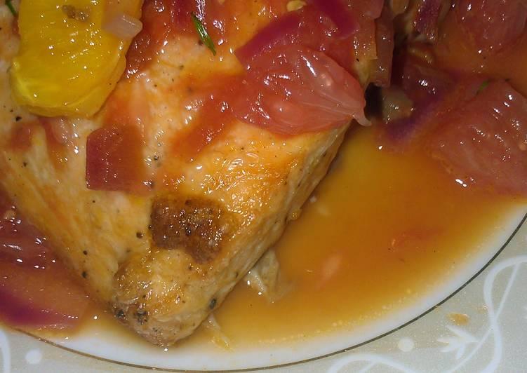 Roasted Salmon with grapefruit sauce