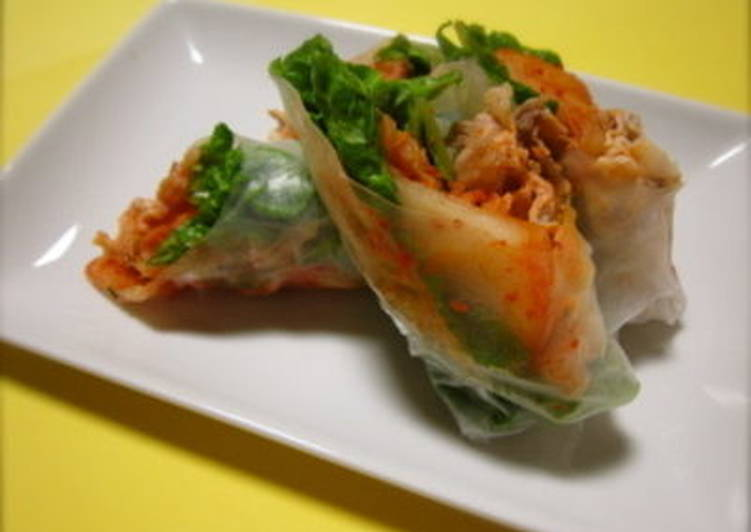 Recipe: Tasty Pork Shabu-Shabu and Kimchi Spring Rolls