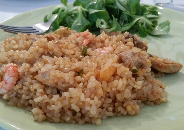 Easiest Way to Make Delicious Seafood Paella with Brown Rice
