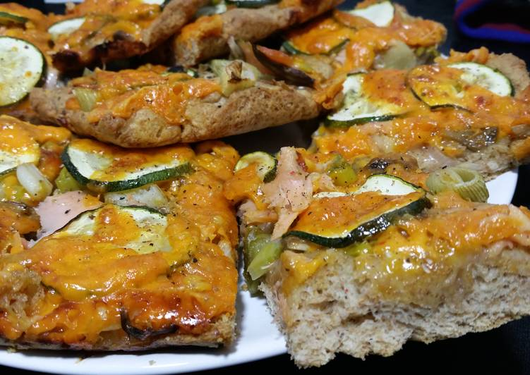 Whole-wheat Pizza with Smoked Salmon, Courgette and Chillies